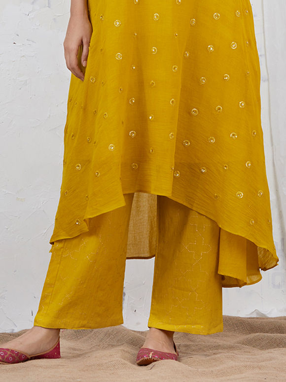Mustard Yellow Hand Block Printed Cotton Palazzo