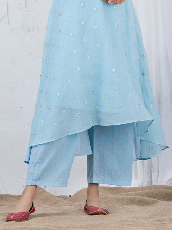 Light Blue Hand Block Printed Cotton Palazzo