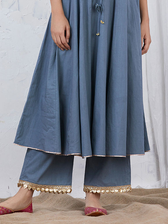 Greyish Blue Embroidered Cotton Palazzo