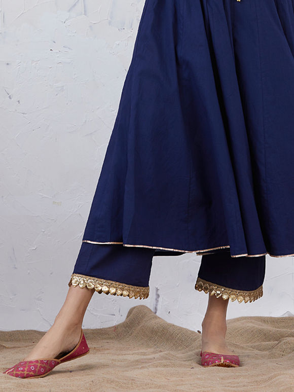 Navy Blue Embroidered Cotton Palazzo