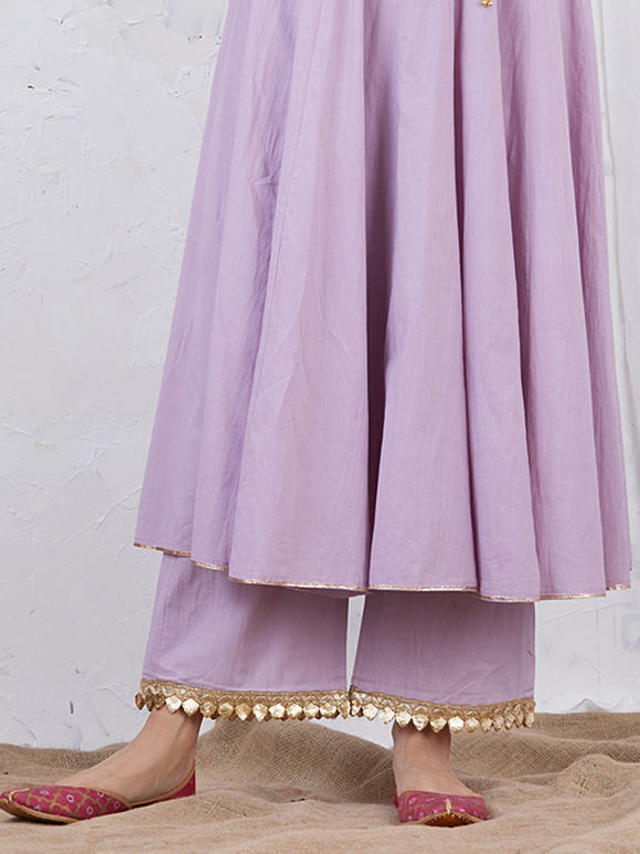 Mauve Embroidered Cotton Palazzo