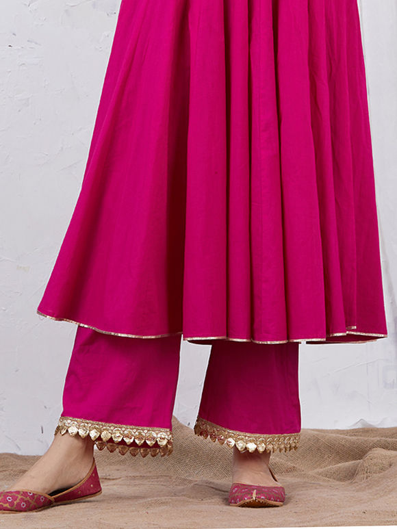 Pink Embroidered Cotton Palazzo