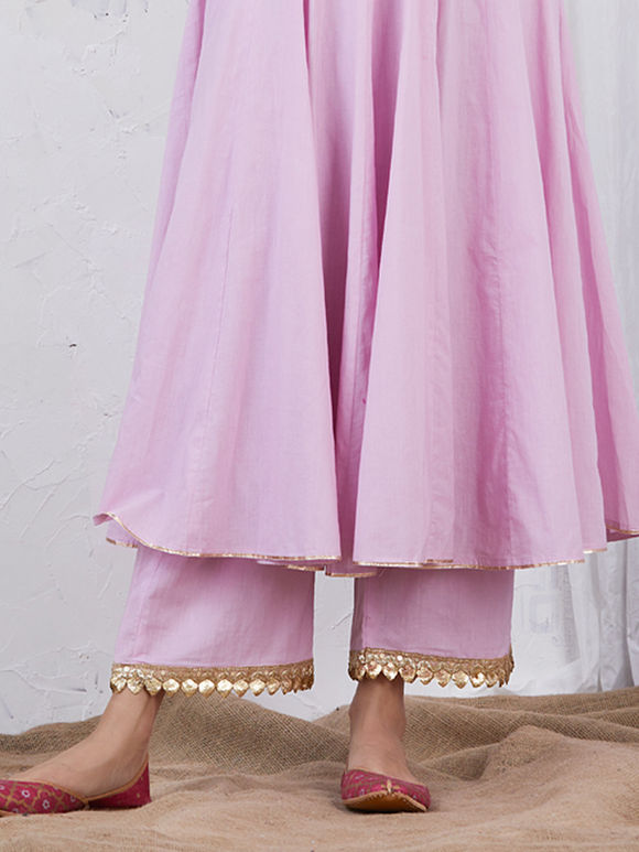 Pastel Pink Embroidered Cotton Palazzo