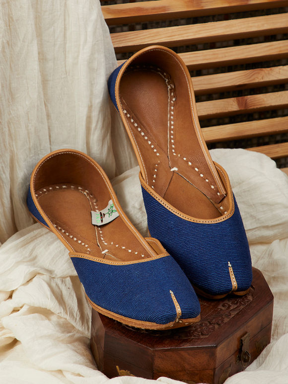 Navy Blue Leather Mojari