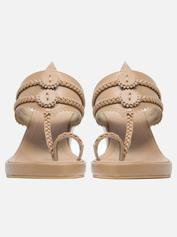 Beige Handcrafted Leather Wedges