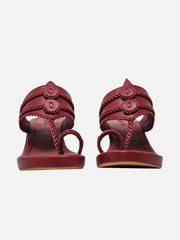 Maroon Handcrafted Leather Wedges