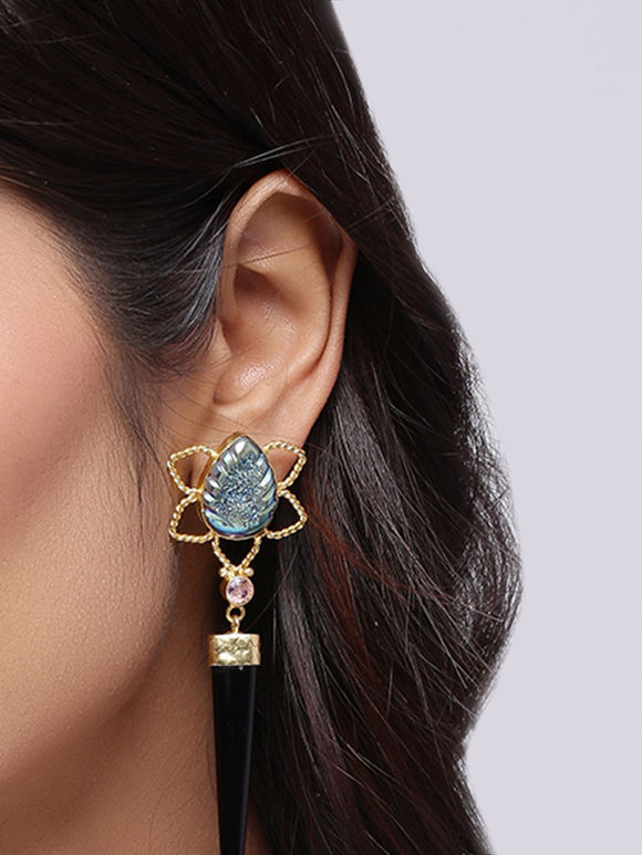 Black Onyx Golden Plated Handcrafted Brass Earrings