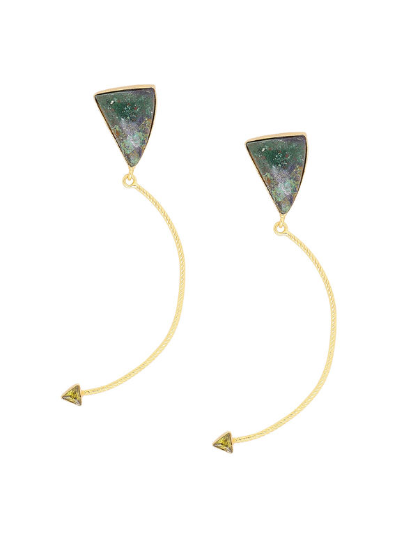 Green Golden Handcrafted Brass Earrings