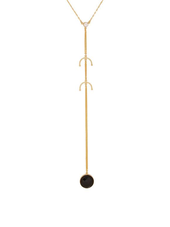 Black Onyx Handcrafted Brass Necklace