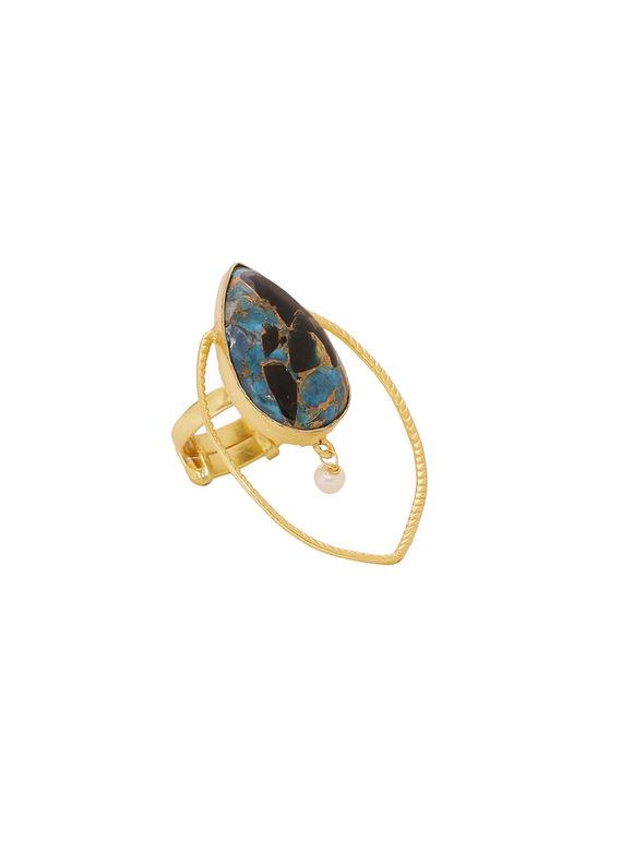 Blue Golden Handcrafted Brass Ring