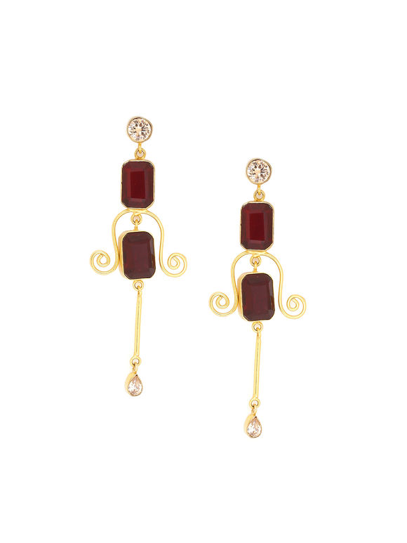 Red Golden Plated Handcrafted Brass Earrings