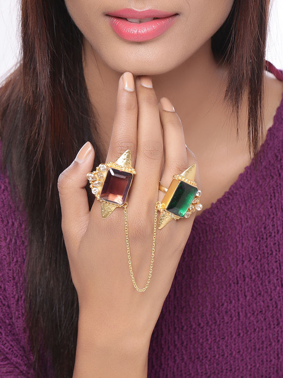 Green Maroon Handcrafted Dual Finger Brass Ring