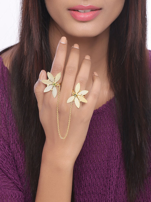 Golden Handcrafted Flower Dual Finger Brass Ring