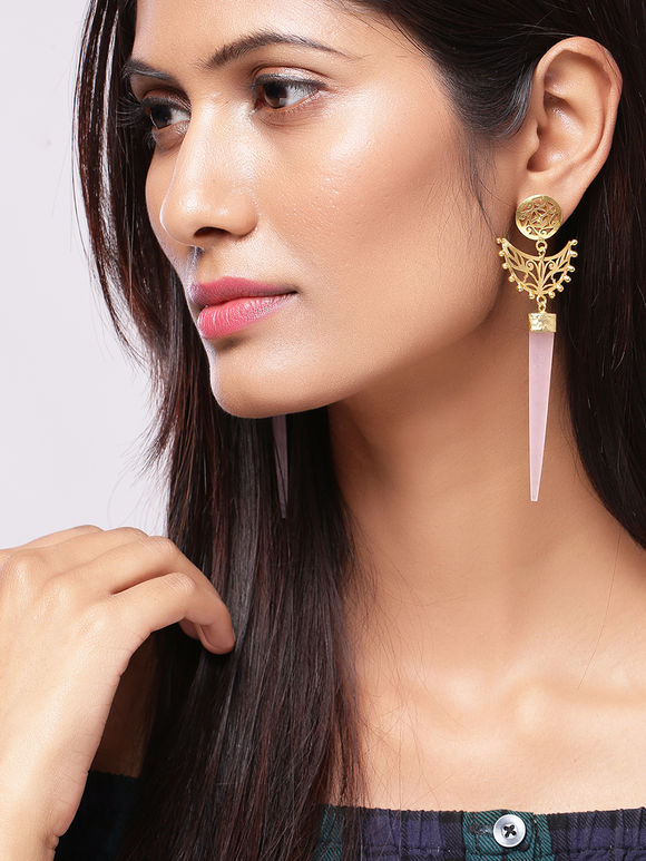 Pink Golden Plated Handcrafted Brass Earrings