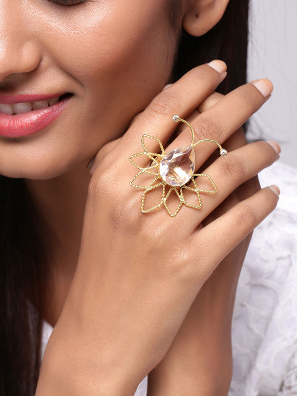 Pink Handcrafted Brass Ring