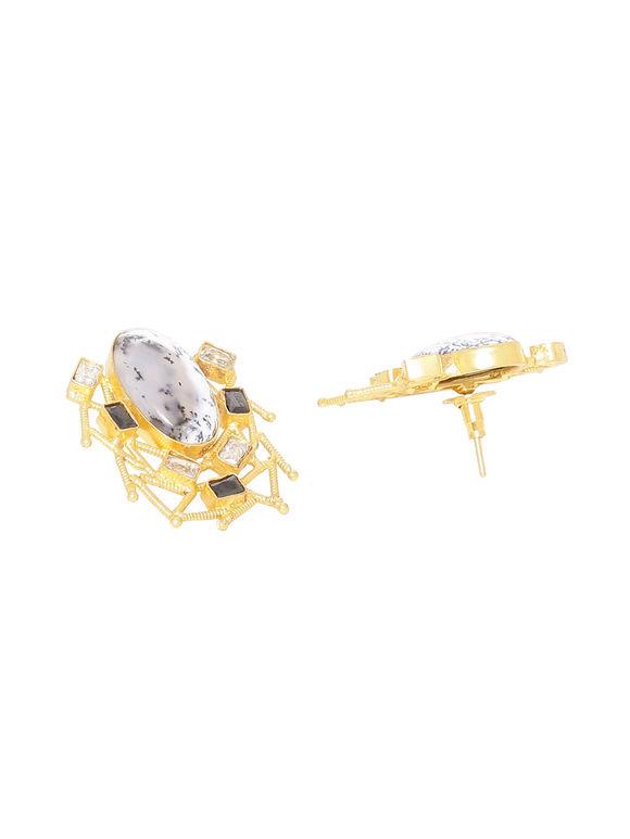 Black Golden Handcrafted Brass Earrings