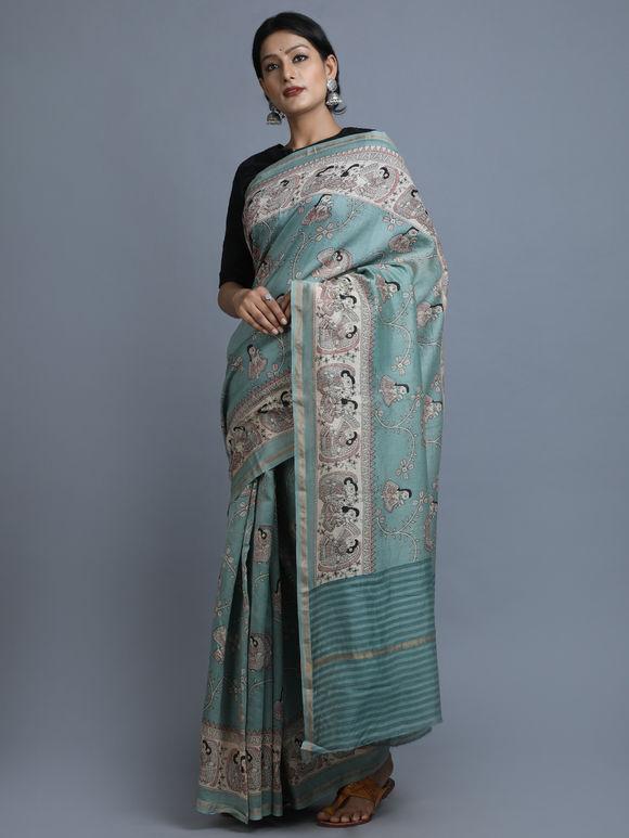 Blue Grey Hand Block Printed Chanderi Silk Saree