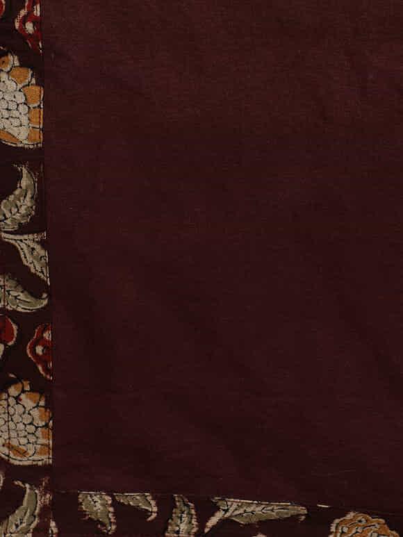 Brown Cotton Hand Block Printed Kalamkari Table Runner