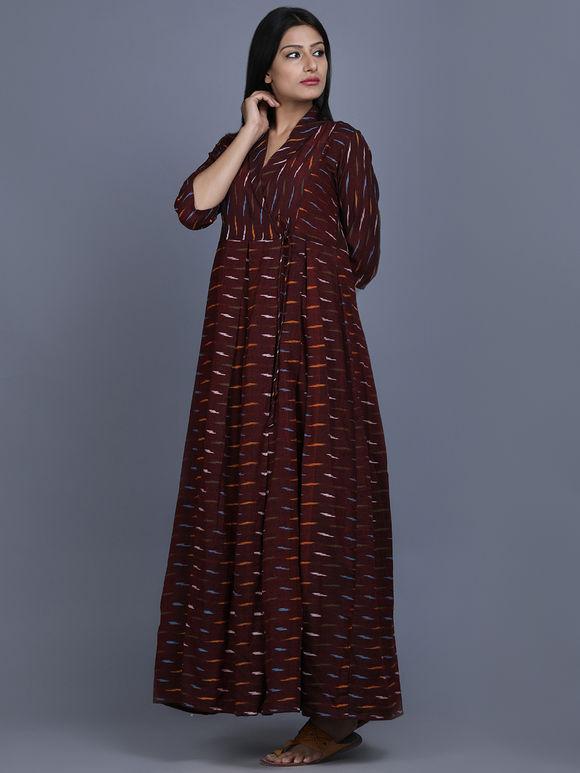 Brown Ikat Cotton Maxi Dress