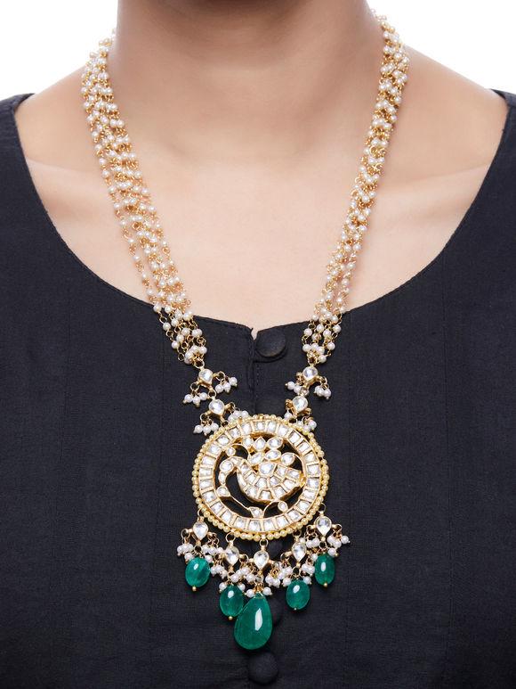 Green Onyx Kundan Gold Plated Pendant Necklace