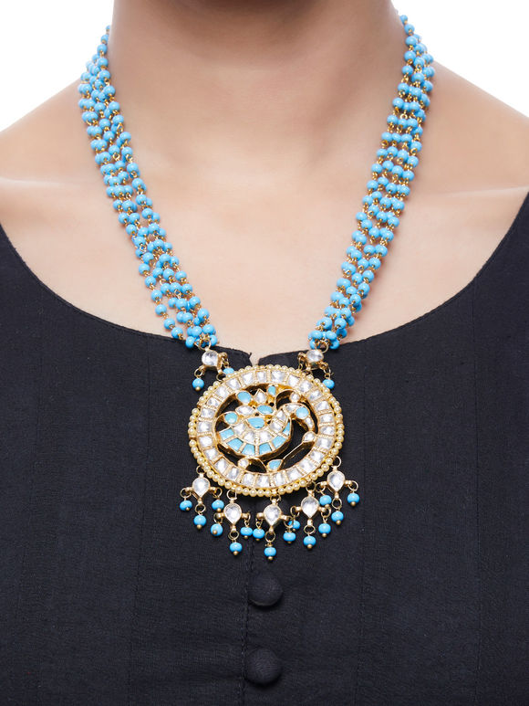 Turquoise Kundan Gold Plated Pendant Necklace