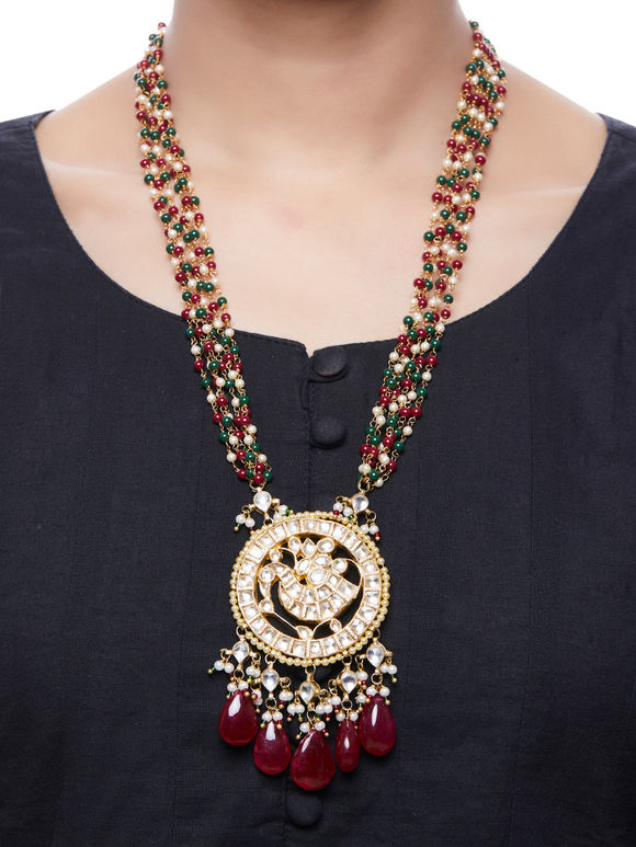 Red Green Kundan Gold Plated Pendant Necklace