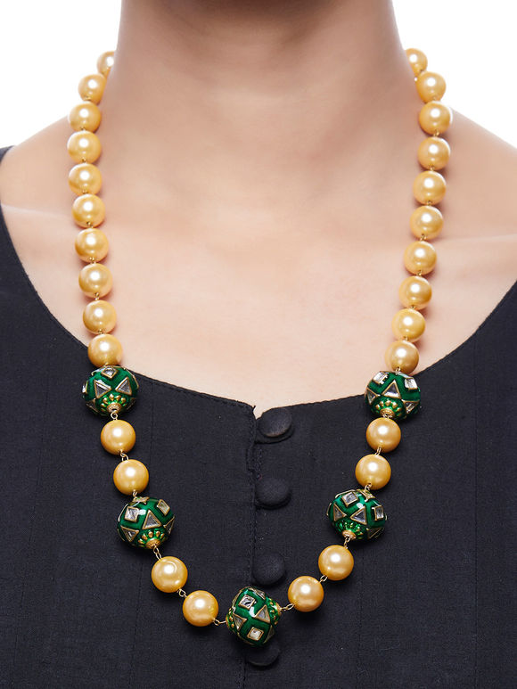 Green Handpainted Meenakari Pearl Necklace