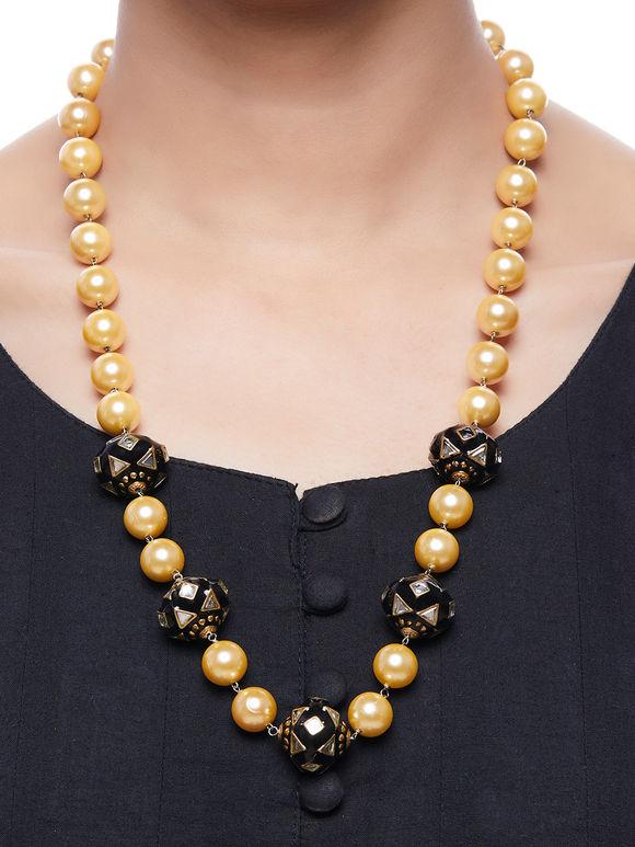 Black Handpainted Meenakari Pearl Necklace