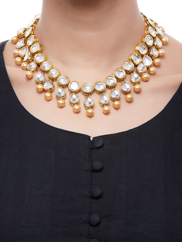 Pearl Gold Plated Kundan Choker Necklace