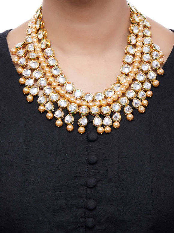 Pearl Gold Plated Kundan Necklace