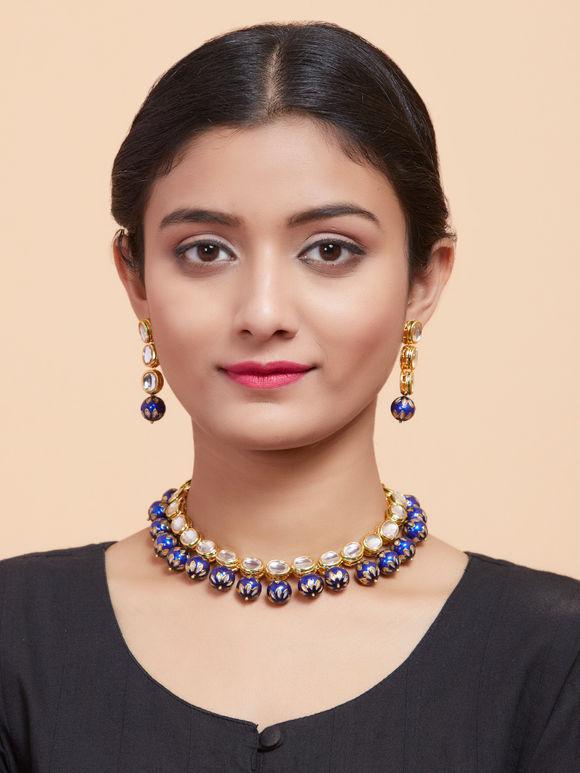 Blue Beaded Gold Plated Kundan Meenakari Necklace with Earrings - Set of 2
