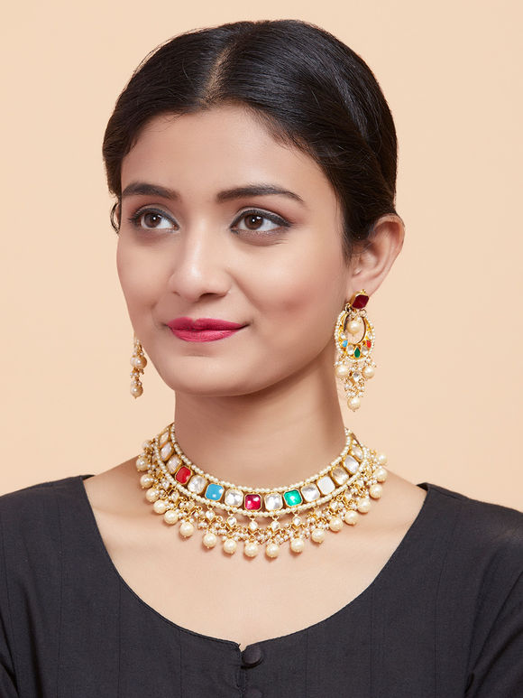 Multicolor Gold Plated Navrattan Polki Choker Necklace with Earrings - Set of 2