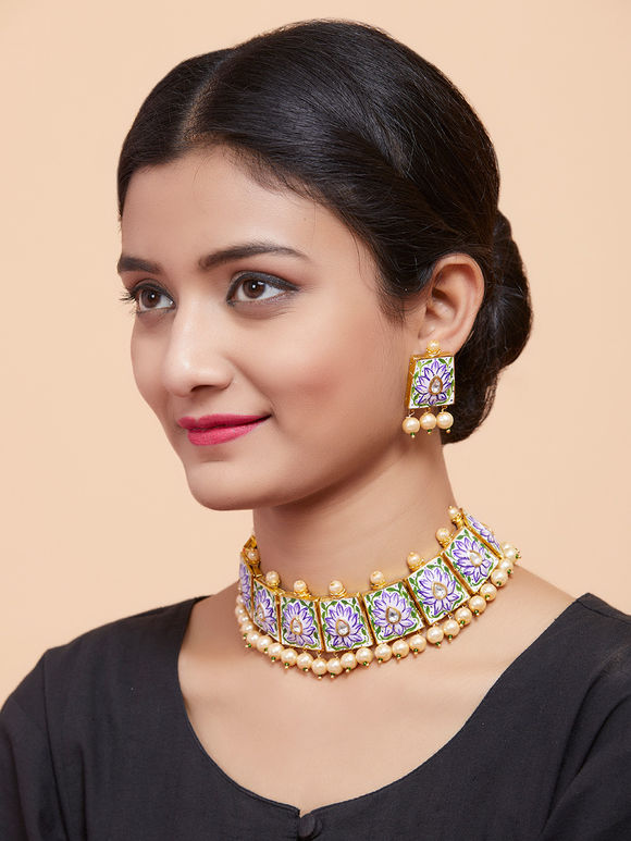 Purple Gold Plated Handpainted Choker Necklace with Earrings - Set of 2