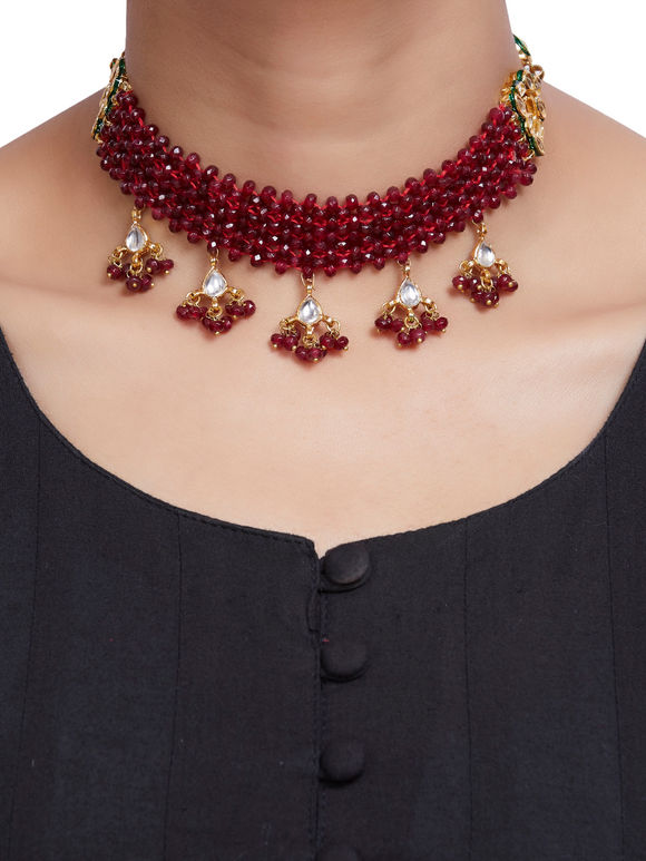 Red Onyx Gold Plated Kundan Handcrafted Choker Necklace