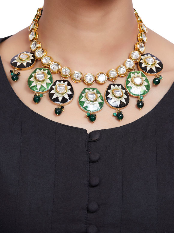 Black Green Gold Plated Kundan Handpainted Necklace