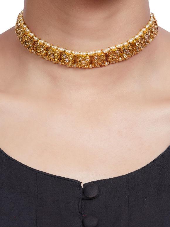 Gold Plated Kundan Flower Choker Necklace