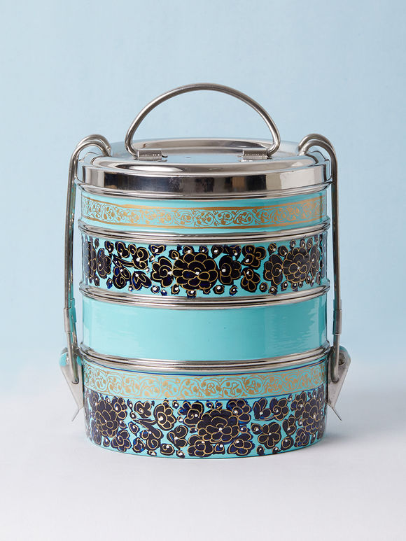 Sky Blue Hand Painted Steel Cylindrical 4 Tier Carrier
