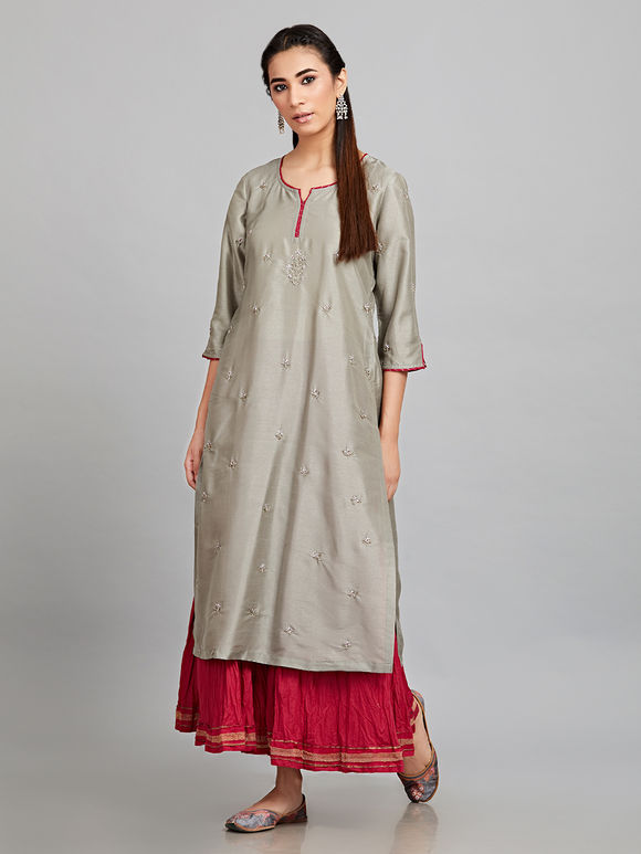 Grey Embroidered Silk Kurta with Wine Cotton Crinkled Flared Skirt and Pink Mulmul Dupatta - Set of 3