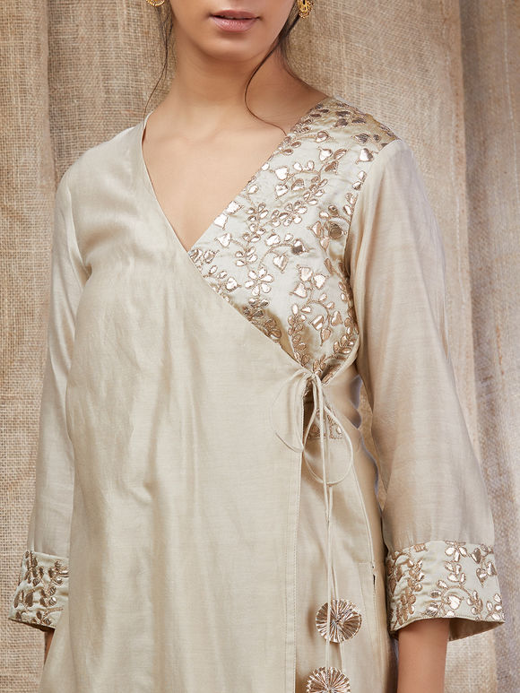 Beige Gota Embroidered Chanderi Angrakha Kurta with Cotton Palazzo - Set of 2