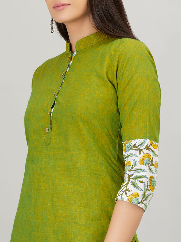 Olive Green Hand Block Printed Khadi Cotton Kurta with Pants - Set of 2