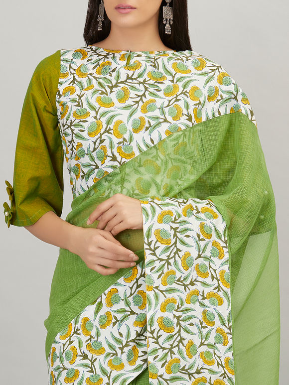 Green Khadi Cotton Mulmul Blouse