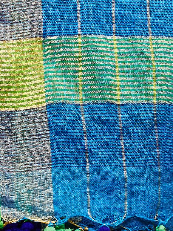 Blue Zari Checkered Handwoven Linen Dupatta