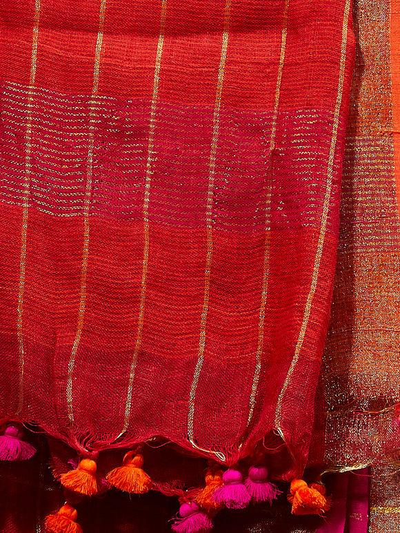 Red Zari Checkered Handwoven Linen Dupatta
