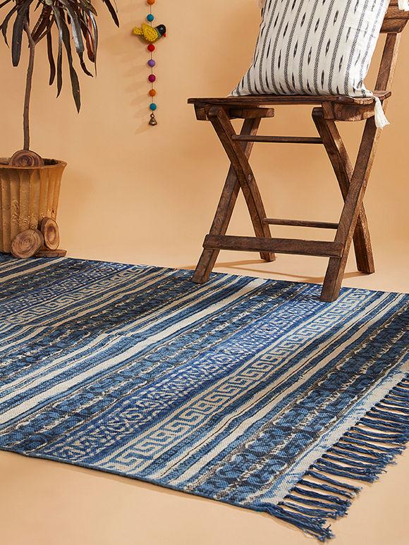 Blue Hand Block Dabu Printed Cotton Rug