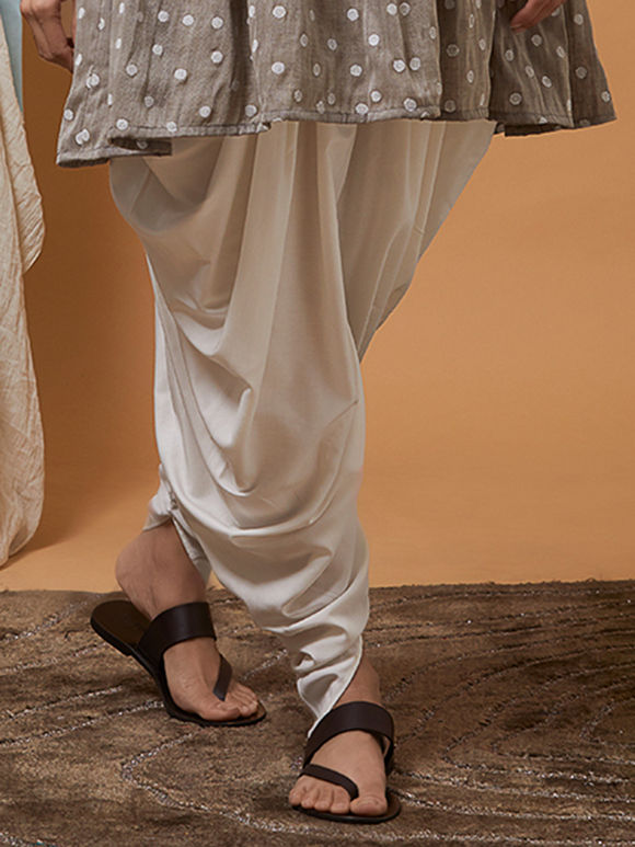 Off White Cotton Modal Dhoti Pants