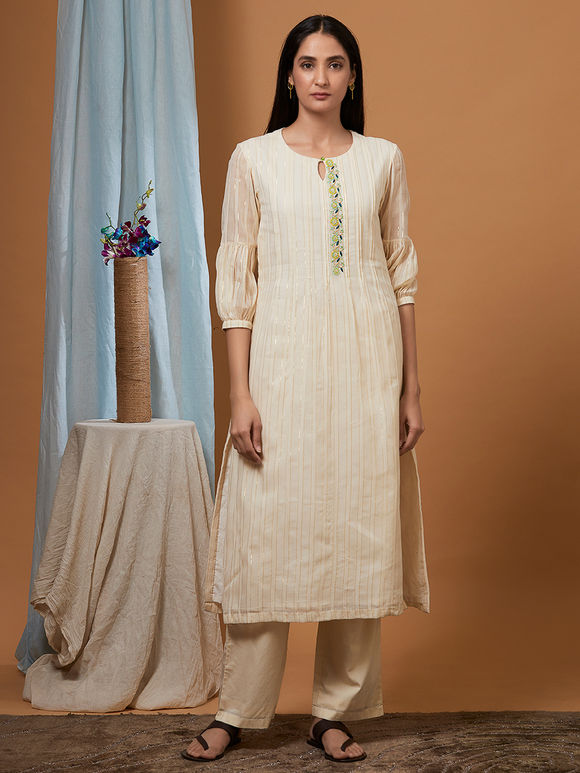 Off White Cotton Kurta