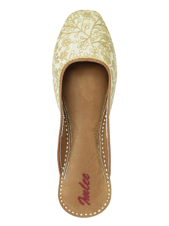 Beige Golden Sequins Embroidered Leather Mojari