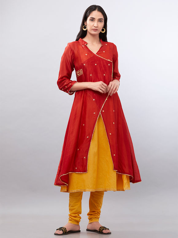 Red Yellow Embroidered Double Layered Chanderi Suit with Clamp Dyed Dupatta - Set of 3