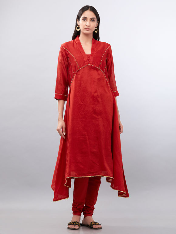 Red Asymmetric Chanderi Suit with Clamp Dyed Dupatta - Set of 3