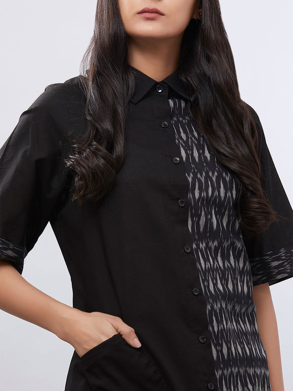 Black Cotton Ikat Kurta